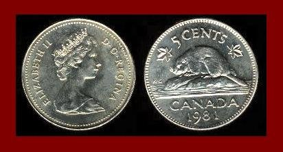 CANADA 1981 5 CENTS COIN KM#60.2 Queen Elizabeth II by Machin - Beaver - XF - BEAUTIFUL!