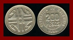 COLOMBIA 1994 200 PESOS COIN KM#287 South American Quimbaya Art