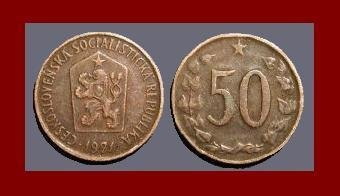 CZECHOSLOVAKIA 1971 50 HALERU BRONZE COIN KM#55.1 Europe