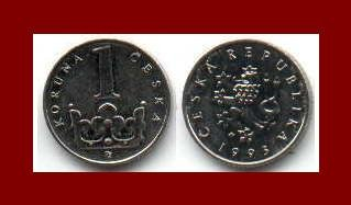 CZECH REPUBLIC 1993(L) 1 KORUNA COIN KM#7 Crowned Lion - XF - BEAUTIFUL!