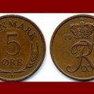DENMARK 1966 5 ORE BRONZE COIN KM#848.1 King Frederik IX - Crowned R