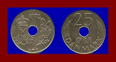 DENMARK 1976 25 ORE COIN KM#861.1 Queen Margrethe II - Crowned M