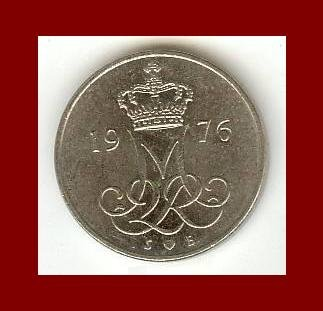 DENMARK 1976 10 ORE COIN KM#860.1 Queen Margrethe II - Crowned M