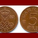 DENMARK 1980 5 ORE COIN KM#859.2 Queen Margrethe II - Crowned M