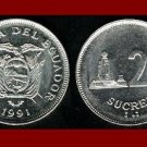 ECUADOR 1991 20 SUCRES COIN KM#94.2 Modified Coat of Arms