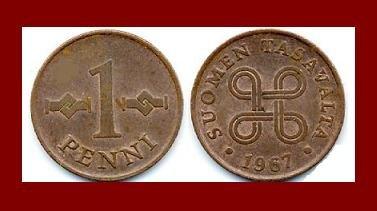 FINLAND 1967 1 PENNI COPPER COIN KM#44 Hands Clasped