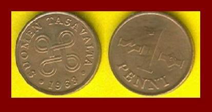 FINLAND 1963 1 PENNI COPPER COIN KM#44 Hands Clasped