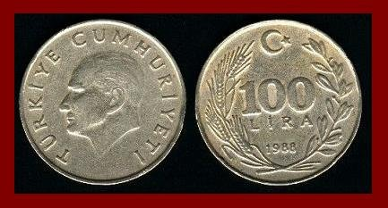 TURKEY 1988 100 LIRA COIN KM#967 Mustafa Kemal Ataturk - BEAUTIFUL!