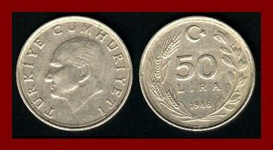 TURKEY 1986 50 LIRA COIN KM#966 Mustafa Kemal Ataturk - BEAUTIFUL!