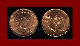TURKEY 1971 1 KURUS BRONZE COIN KM#895a Olive Branch - BU - BEAUTIFUL!