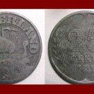 NETHERLANDS 1941 25 CENTS COIN KM#174 - World War II Europe - Queen Wilhelmina ~ SCARCE!