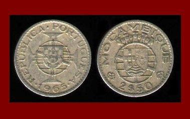 MOZAMBIQUE 1965 2 1/2 ESCUDOS COIN KM#78 Portuguese Republic Africa ~ SCARCE!