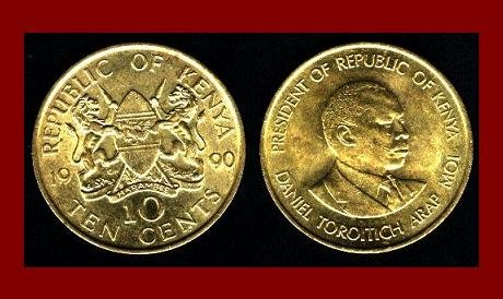 KENYA 1990 10 CENTS COIN KM#18 AFRICA BEAUTIFUL!