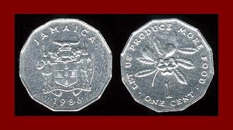 FAO ISSUE - JAMAICA 1986 1 CENT COIN KM#64 COMMEMORATES WORLD FOOD DAY Ackee Fruit - BEAUTIFUL!
