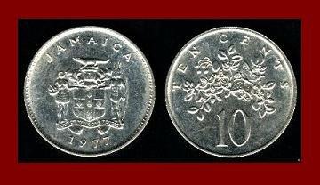 JAMAICA 1977 10 CENTS COIN KM#47 Caribbean - Lignum Vitae Flowers