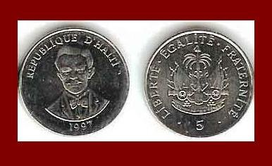 HAITI 1997 5 CENTIMES COIN KM#154.a - National Hero Charlemagne Peralte - BEAUTIFUL!