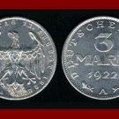 Weimar Republic GERMANY 1922(A) 3 MARK COIN KM#29 Commemorates 3rd Anniversary of Weimar Republic