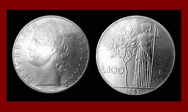 ITALY 1956 100 LIRE STEEL COIN KM#96 Europe Roman Woman Warrior ~ BU ~ BEAUTIFUL!