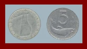 ITALY 1953 5 LIRE COIN KM#92 Europe Dolphin