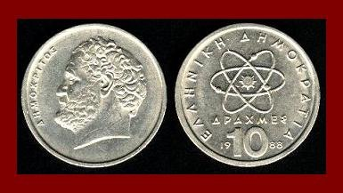 GREECE 1988 10 DRACHMES COIN KM#132 Greek Democritus Atom ~ BEAUTIFUL!