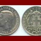 GREECE 1966 50 LEPTA COIN KM#88 Greek King Constantine II ~ BEAUTIFUL!