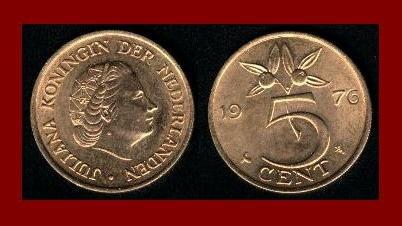 NETHERLANDS 1976 5 CENTS BRONZE COIN KM#181 - Cranberries - Queen Juliana