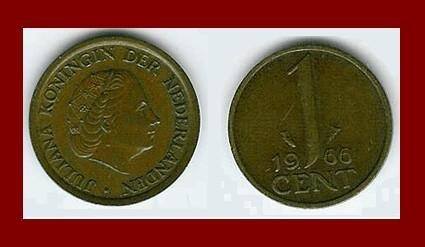 NETHERLANDS 1966 1 CENT BRONZE COIN KM#180 Queen Juliana