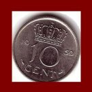 NETHERLANDS 1959 10 CENTS COIN KM#183 Queen Juliana ~ BEAUTIFUL!