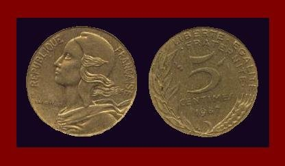FRANCE 1987 5 CENTIMES COIN KM#933 ~ BEAUTIFUL!