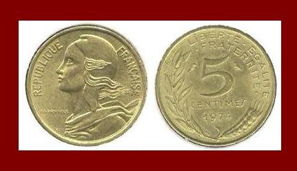 FRANCE 1974 5 CENTIMES COIN KM#933 ~ BEAUTIFUL!