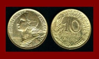 FRANCE 1967 10 CENTIMES COIN KM#929