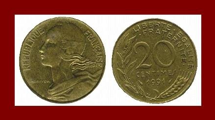 FRANCE 1991 20 CENTIMES COIN KM#930 Europe ~ BEAUTIFUL!