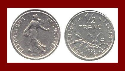 FRANCE 1969 1/2 (HALF) FRANC COIN KM#931.1 ~ BEAUTIFUL!
