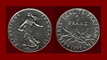 FRANCE 1999 1 FRANC COIN KM#925.2 Europe ~ BEAUTIFUL!