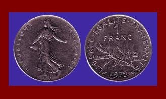 FRANCE 1972 1 FRANC COIN KM#925.1 Europe ~ BEAUTIFUL!