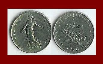 FRANCE 1960 1 FRANC COIN KM#925.1 Europe ~ BEAUTIFUL!
