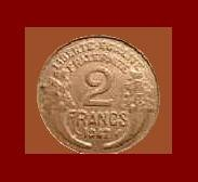 FRANCE 1947 2 FRANCS COIN KM#886a.1 ~ Europe Post WWII