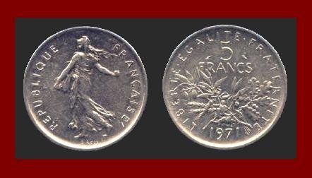 FRANCE 1971 5 FRANCS COIN KM#926a.1 Europe ~ BEAUTIFUL!