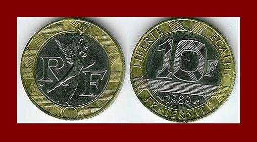 FRANCE 1989 10 FRANCS BIMETALLIC BRONZE STEEL COIN KM#964.1 Europe Spirit of Bastille ~ BEAUTIFUL!