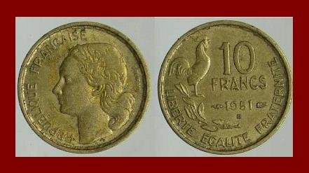 FRANCE 1951 10 FRANCS COIN KM#915.2 Europe ~ ROOSTER with 4 PLUMES ~ SCARCE!