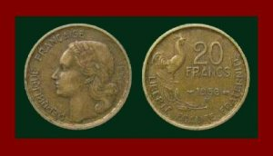 FRANCE 1953 20 FRANCS COIN KM#917.2 EUROPE ~ ROOSTER