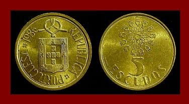 PORTUGAL 1986 5 ESCUDOS COIN KM#632 Europe - Knotted Rope