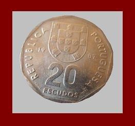 PORTUGAL 1987 20 ESCUDOS COIN KM#634 Europe - Compass