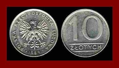 POLAND 1984 10 ZLOTYCH BRASS COIN Y#152.1 Communist Coin - White Eagle