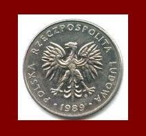 POLAND 1989 20 ZLOTYCH COIN Y#153.2 Communist Coin - White Eagle ~ BEAUTIFUL!