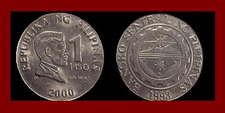 PHILIPPINES 2000 1 PISO COIN KM#269 National Hero Dr. Jose Rizal ~ BEAUTIFUL!