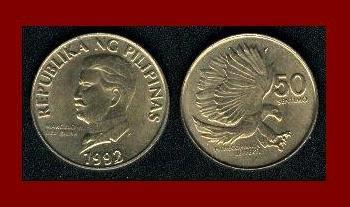 PHILIPPINES 1992 50 SENTIMOS BRASS COIN KM#242.3 PITHECOPHAGA - Monkey Eating Eagle