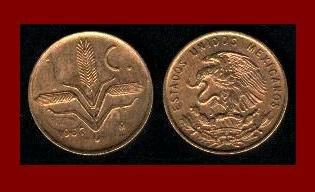 MEXICO 1956 1 CENTAVO BRASS COIN KM#417 Central America