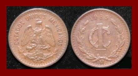 MEXICO 1935 1 CENTAVO BRONZE COIN KM#415 Central America ~ SCARCE!