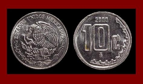 MEXICO 2000 10 CENTAVOS STEEL COIN KM#547 Central America ~ BU ~ BEAUTIFUL!